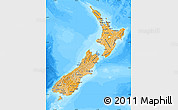 Political Shades Map of New Zealand, desaturated, land only