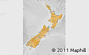 Political Shades Map of New Zealand, lighten, desaturated