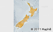 Political Shades Map of New Zealand, lighten, semi-desaturated