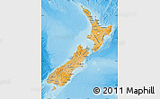 Political Shades Map of New Zealand, physical outside