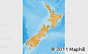 Political Shades Map of New Zealand, satellite outside, bathymetry sea