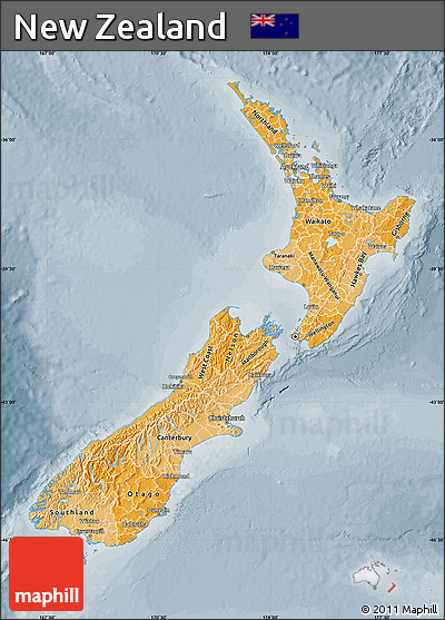 Political Shades Map of New Zealand, semi-desaturated