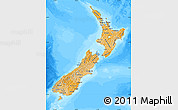 Political Shades Map of New Zealand, semi-desaturated, land only