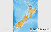 Political Shades Map of New Zealand, shaded relief outside, bathymetry sea