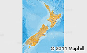 Political Shades Map of New Zealand, single color outside