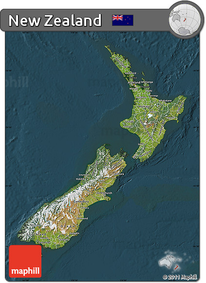 Free Satellite Map of New Zealand, darken on aerial view world map, continents and oceans flat map, space map, security map, phone map, mobile map, sat map, sky map, networking map,