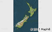 Satellite Map of New Zealand, darken