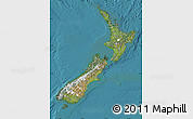 Satellite Map of New Zealand, political shades outside, satellite sea