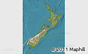 Satellite Map of New Zealand, single color outside