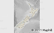 Shaded Relief Map of New Zealand, desaturated