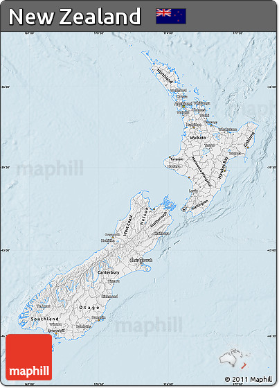 Silver Style Map of New Zealand