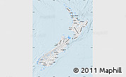 Silver Style Map of New Zealand, single color outside