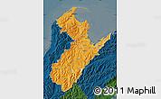 Political Shades Map of Nelson, darken