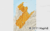 Political Shades Map of Nelson, shaded relief outside