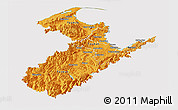 Political Shades Panoramic Map of Nelson, cropped outside