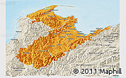 Political Shades Panoramic Map of Nelson, shaded relief outside