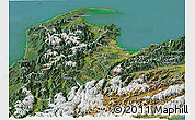 Satellite Panoramic Map of Nelson