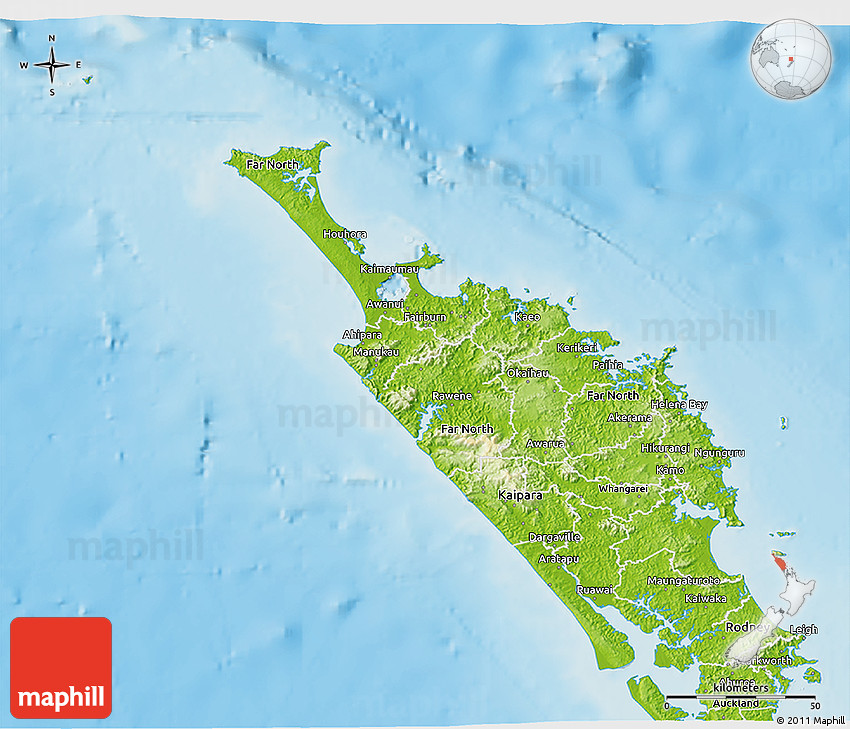 New Zealand Northland Map Detailed.Physical 3d Map Of Northland