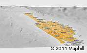 Political Shades Panoramic Map of Northland, desaturated