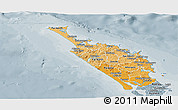 Political Shades Panoramic Map of Northland, semi-desaturated