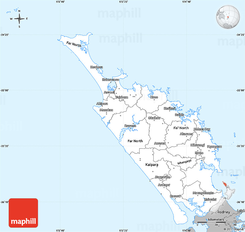 New Zealand Northland Map Detailed.Gray Simple Map Of Northland