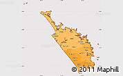 Political Shades Simple Map of Northland, cropped outside