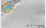 Political 3D Map of Otago, desaturated
