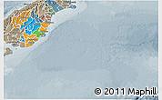 Political 3D Map of Otago, semi-desaturated