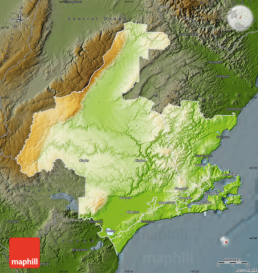 Physical Map of Dunedin darken