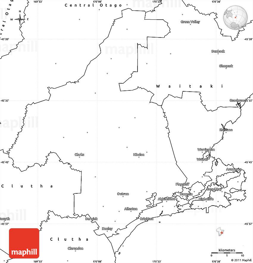 Blank Simple Map of Dunedin