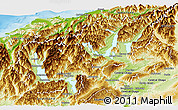 Physical Panoramic Map of Queenstown-Lakes