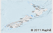 Classic Style Panoramic Map of New Zealand, single color outside