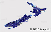 Flag Panoramic Map of New Zealand