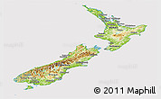 Physical Panoramic Map of New Zealand, cropped outside