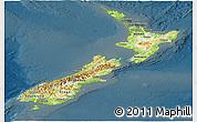 Physical Panoramic Map of New Zealand, darken