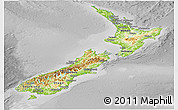 Physical Panoramic Map of New Zealand, desaturated