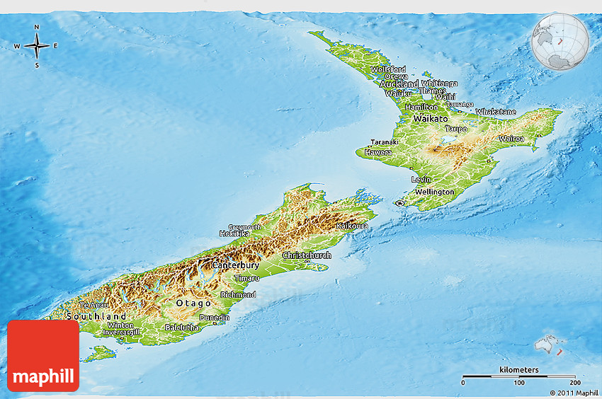 Physical Panoramic Map of New Zealand, political outside ...