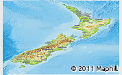 Physical Panoramic Map of New Zealand, political outside, shaded relief sea