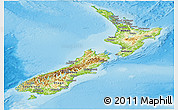 Physical Panoramic Map of New Zealand, political shades outside, shaded relief sea