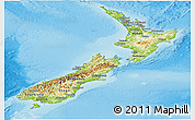 Physical Panoramic Map of New Zealand, satellite outside, shaded relief sea
