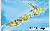 Physical Panoramic Map of New Zealand, semi-desaturated, land only
