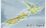 Physical Panoramic Map of New Zealand, semi-desaturated