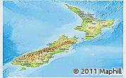 Physical Panoramic Map of New Zealand, shaded relief outside