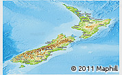 Physical Panoramic Map of New Zealand, single color outside