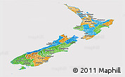 Political Panoramic Map of New Zealand, cropped outside