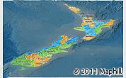 Political Panoramic Map of New Zealand, darken