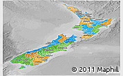Political Panoramic Map of New Zealand, desaturated