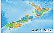 Political Panoramic Map of New Zealand, physical outside
