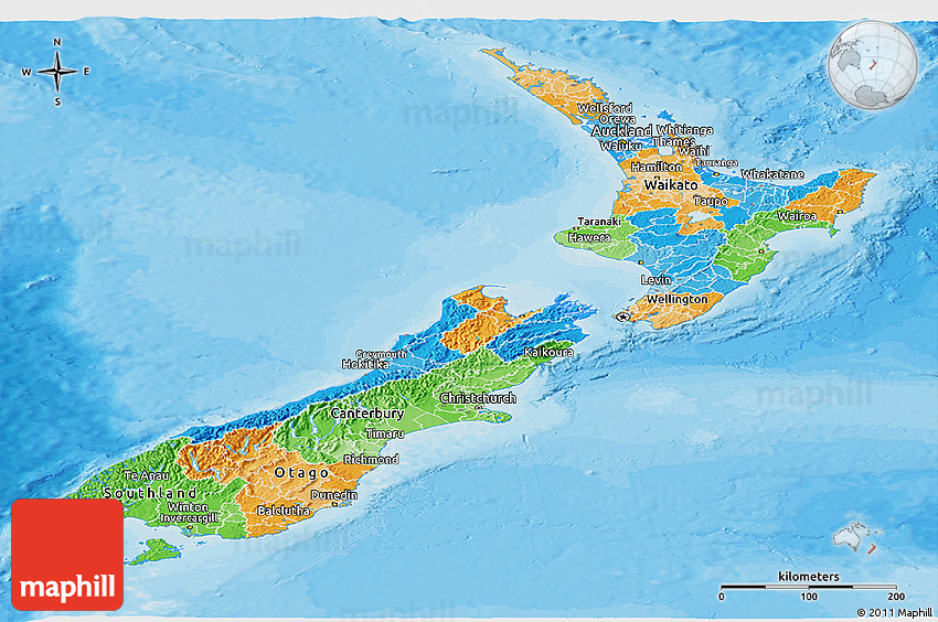Political Map Of New Zealand.Political Panoramic Map Of New Zealand