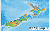Political Panoramic Map of New Zealand, political shades outside
